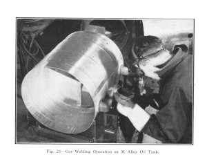 Magnesium aircraft oil tank being welded-sm